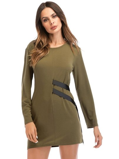 Army Long Sleeve Casual Women's Day Dress