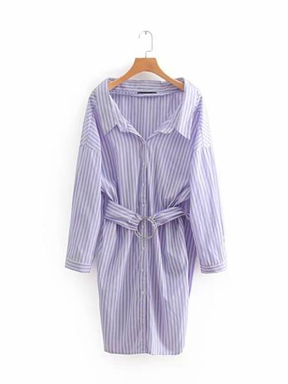 Long Sleeve Belt Waist Button Day Dress
