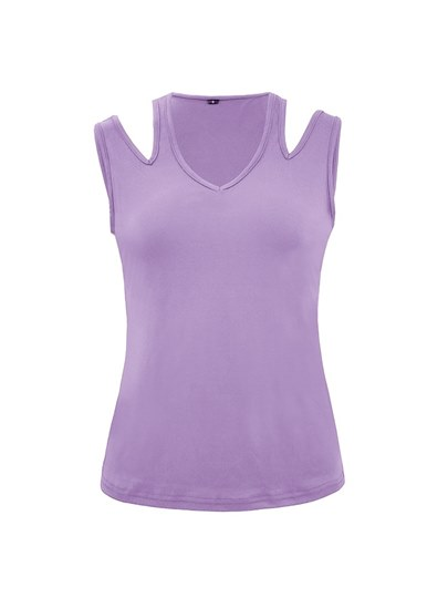 Sleeveless Shoulder Hollow Out Women's Basic T-Shirt