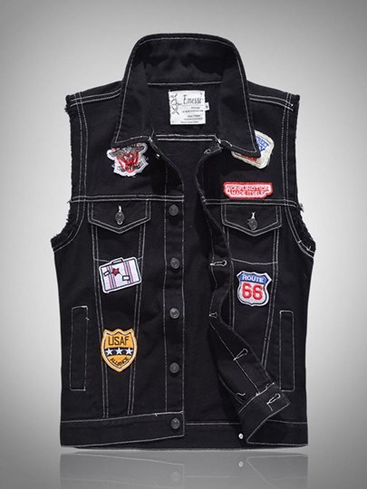 Badge Vintage Slim Fit Men's Denim Vest