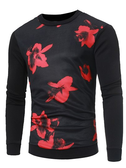 Flower Print Slim Men's Sweatshirt