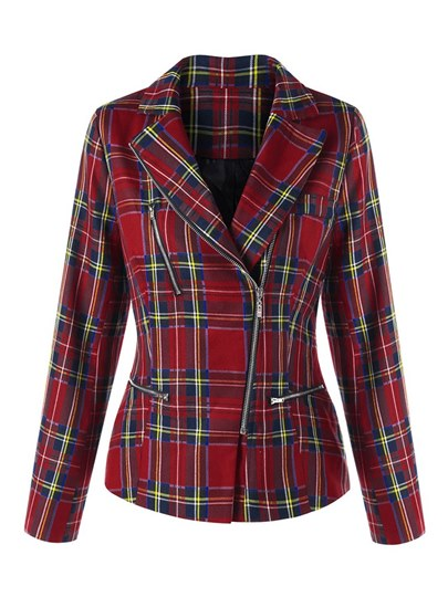 Plaid Asymmetric Zipper Up Notched Lapel Women's Blazer