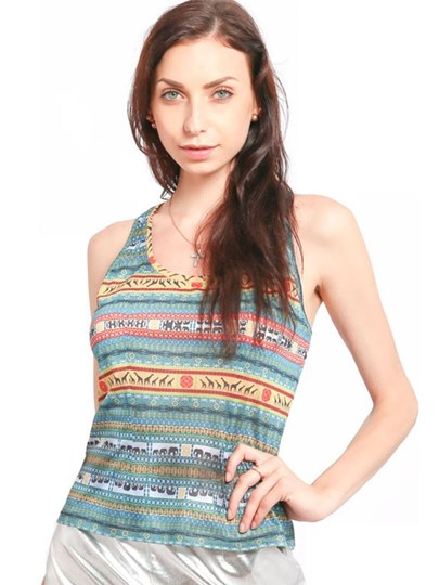 Ethnic Color Block Slim Fit Women's Tank Top