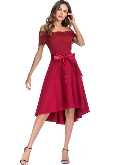 Off Shoulder High-Waist Women's Lace Dress