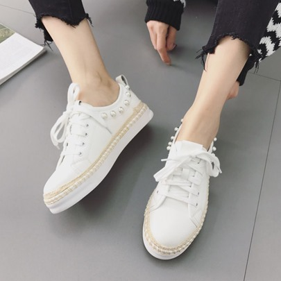 Beads Platform Round Toe Lace-Up Sewing Cute Women's Sneaker
