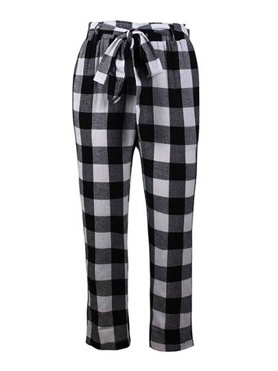 Gingham Print Tie Waist Women's Casual Pants