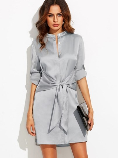 Stand Collar Long Sleeve Button Day Dress