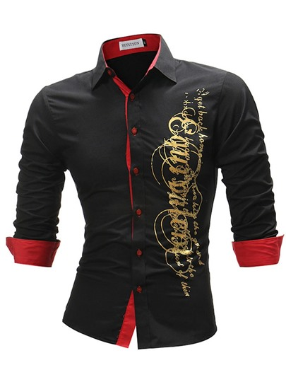 Lapel Letter Print Slim Men's Shirt