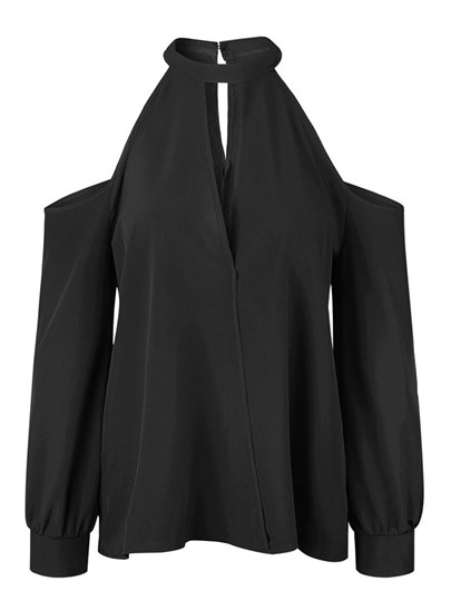 Cold Shoulder Halterneck Women's Blouse