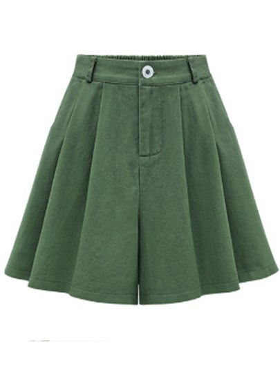 Plain Pleated A line Women's Shorts
