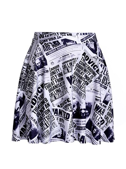 Digital Newspaper Print Pleated Women's Mini Skirt