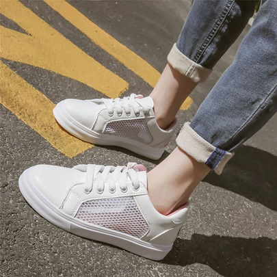 Lace-Up Patchwork Plain Round Toe Hollow Women's Sneaker