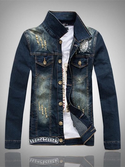 Embroidery Lapel Slim Men's Danim Jacket