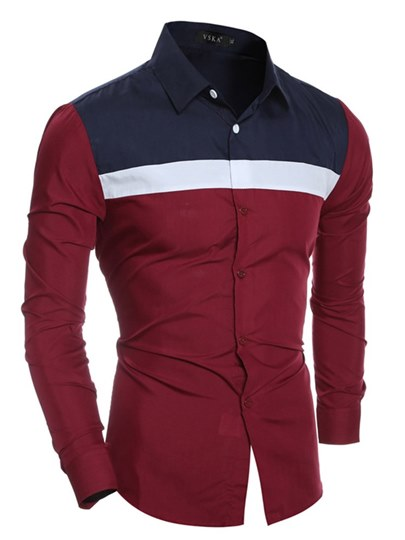 Lapel Patchwork Color Block Men's Leisure Shirt