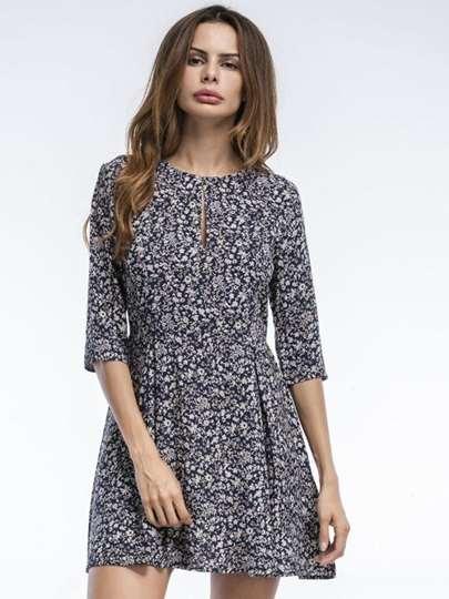 Hole Neck 3/4Length Sleeve Floral Day Dress