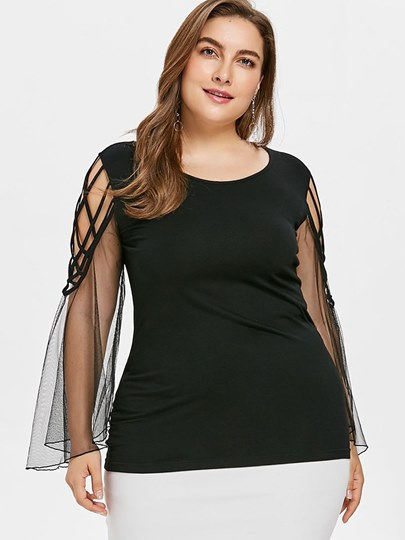 Sheer Bell Sleeve Plus Size Women's T-Shirt