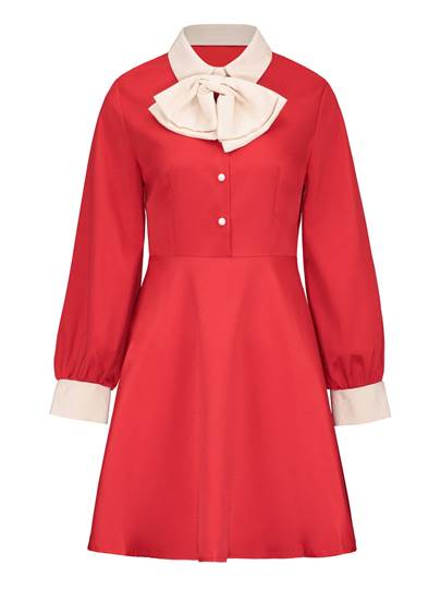 Bowknot Neck Long Sleeve Women's Day Dress