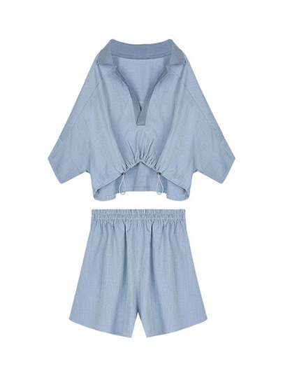 Drawstring Lapel Blouse with Shorts Women's Two Piece Set