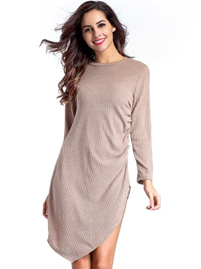 Long Sleeve High Split Women's Day Dress
