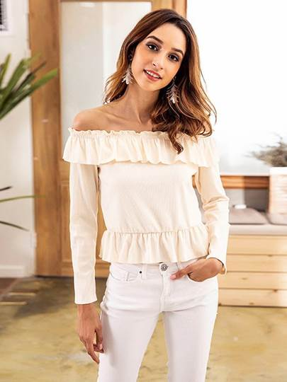Ruched Off Shoudler Long Sleeve Women's Blouse