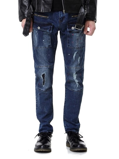Hole Cotton Multi Pocket Men's Jeans