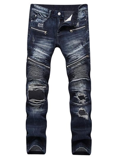 Locomotive Style Hole Slim Men's Jeans