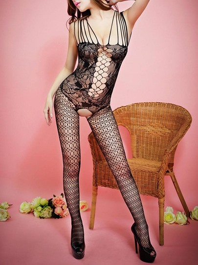 Hollow Jacquard Crotchless Pantyhose Body Stockings