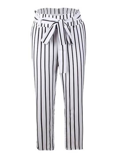 Striped Self Tie Straight Women's Casual Pants