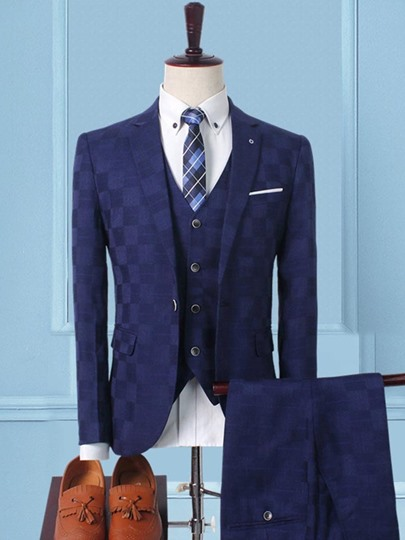 Three Piece England Style Plaid Men's Dress Suit