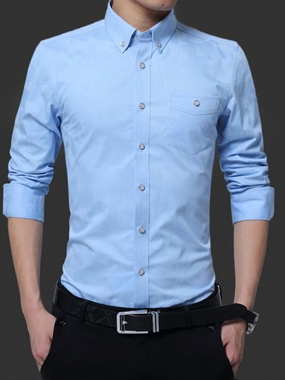 Solid Color Lapel Slim Fit Men's Leisure Shirt