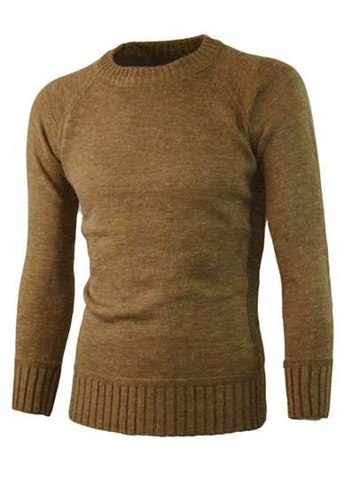 Round Collar Plain Solid Color Men's Sweater