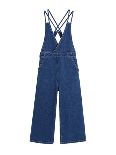 Criss Cross Strap Denim Wide Legs Women's Overalls
