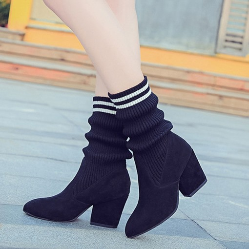 Pointed Toe Chunky Heel Slip-On Trendy Ankle Booties for Women