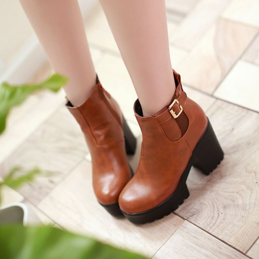 Side Zipper Chunky Heel Round Toe Buckle Women's Ankle Boots