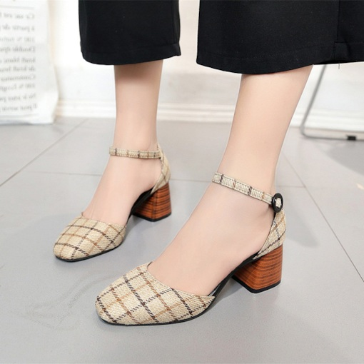 Line-Style Buckle Chunky Heel Square Toe Plaid Pattern Women's Pumps