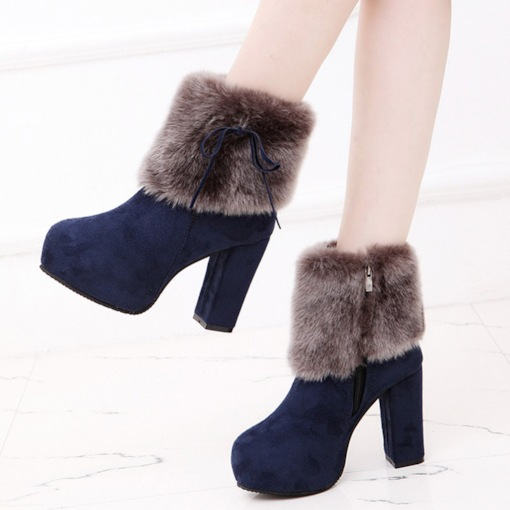 Suede Side Zipper Chunky Heel Short Floss Warm Ankle Boots for Women