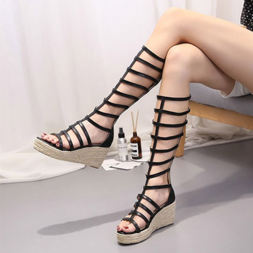 Zipper Wedge Heel Open Toe High-Cut Women's Sandals