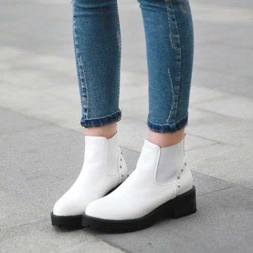 Rivet Platform Slip-On Casual Plain Ankle Booties for Women