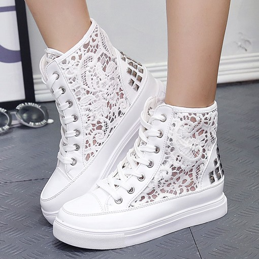 Rivet Platform Lace Hollow High Top Women's White Platform Sneakers