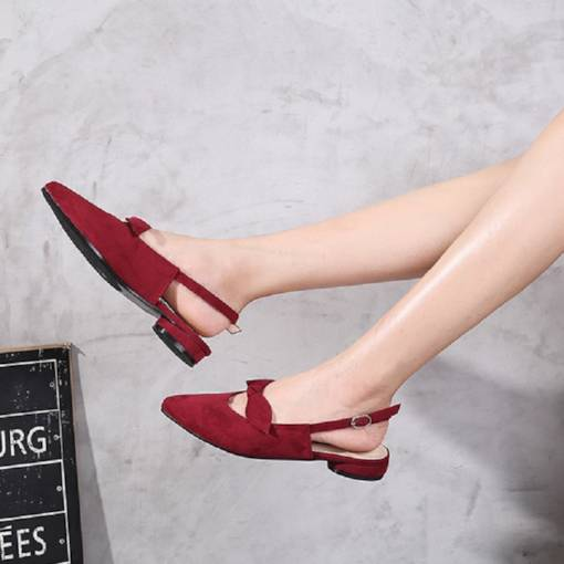 Suede Closed Toe Slingback Strap Bow Women's Flat Sandals