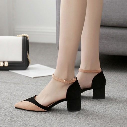 Line-Style Buckle Chunky Heel Pointed Toe Suede Women's Sandals
