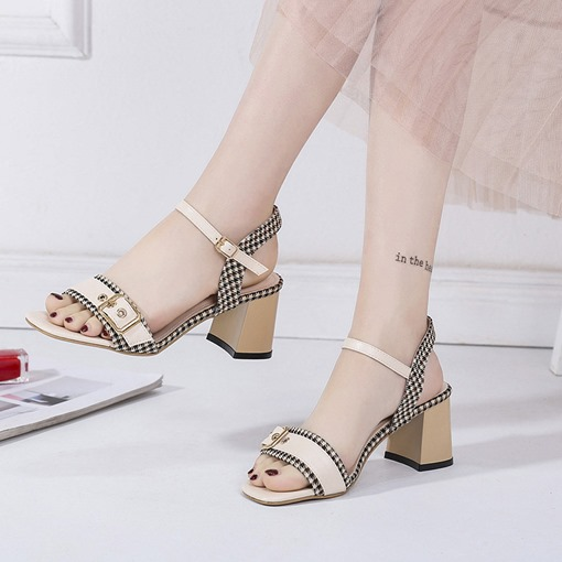 Ankle Strap Buckle Chunky Heel Women's Sandals