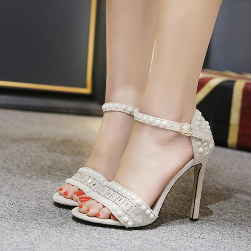 Stiletto Heel Rhinestone Bead Heel Covering Buckle Women's Sandals