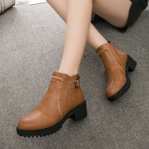 Round Toe Buckle Platform Back Zip Martin Boots for Women