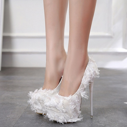 Platform Slip-On Stiletto Heel Feather Women's Wedding Shoes