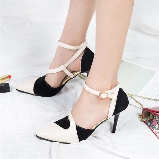 Line-Style Buckle Suede Pointed Toe Stiletto Heel Sexy Women's Pumps