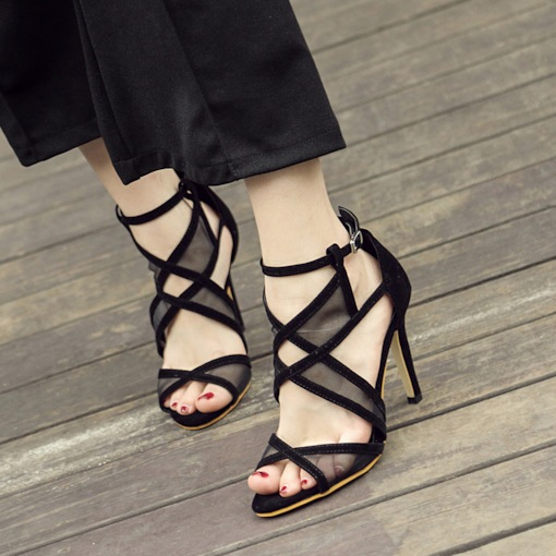 Suede Buckle Peep Toe Stiletto Heel Patchwork Women's Sandals