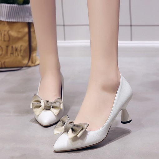 Pointed Toe Shaped Heel Bow Slip-On Elegant Women's Pumps