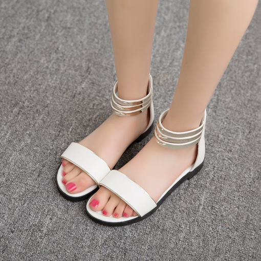 Zipper Block Heel Open Toe Sequin Casual Women's Sandals