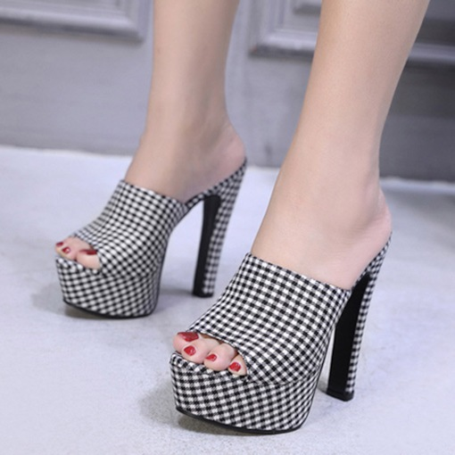 Chunky Heel Plaid Pattern Platform Slip-On Women's Sandals